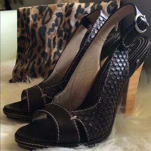 Gianmarco Lorenzi Python Peep Toe Brown Heel